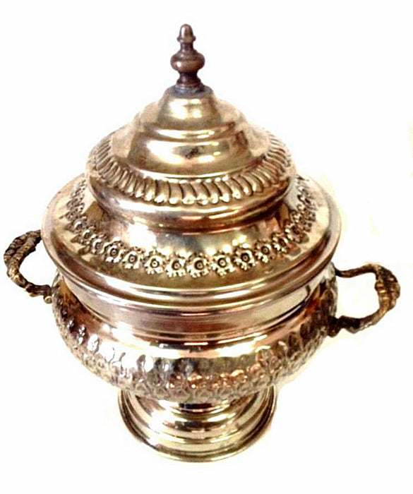 Moroccan Antique Engraved & Carved Silver Plated Brass Bowl
