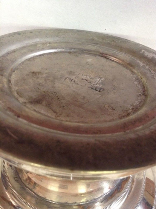 Antique Moroccan Engraved & Carved Silver Plated Brass Lidded Bowl Centerpiece