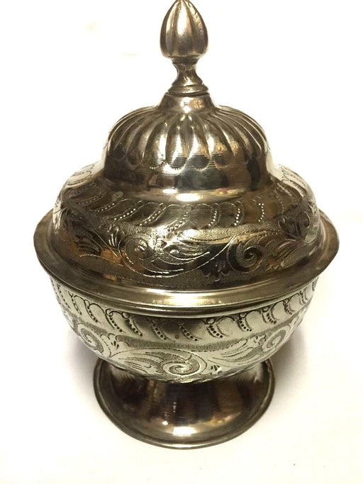 Antique Moroccan Engraved & Carved Silver Plated Brass Lidded Tea Sugar Bowl