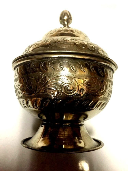 Antique Moroccan Engraved & Carved Silver Plated Brass Lidded Sugar Tea Bowl