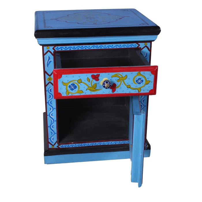 Moroccan Hand painted Solid mango wood 1 Door & 1 Drawer Nightstands