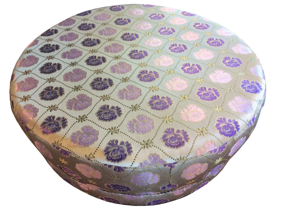 Moroccan Large Round Brocade Upholstery Ottoman Chair Pouf Seat
