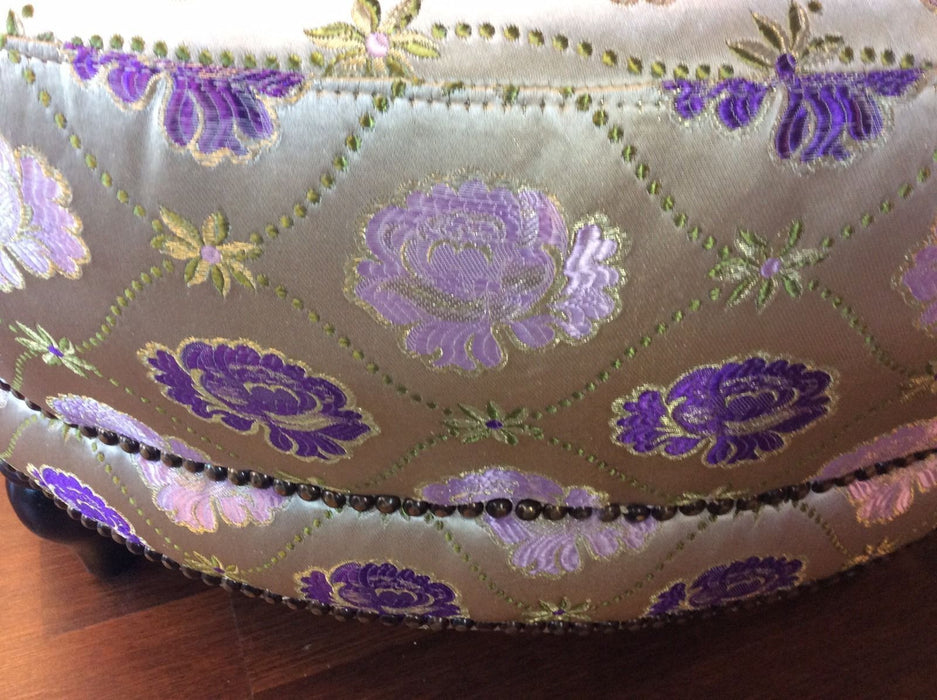 "Moroccan Large Round Brocade Upholstery Ottoman Chair Pouf Seat 42"" Diameter"
