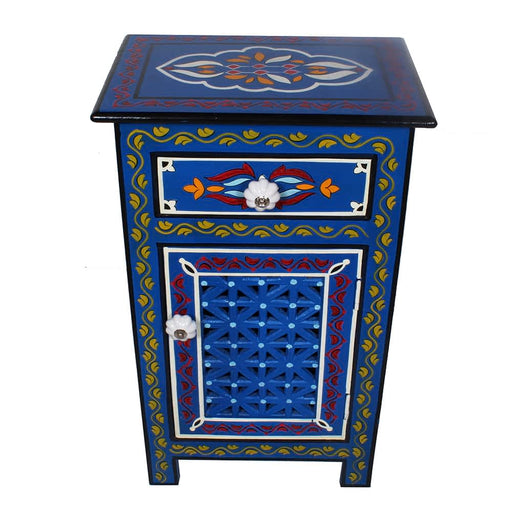 Moroccan Top Mango Wood Hand Painted 1 Drawer Nightstand - Endtable