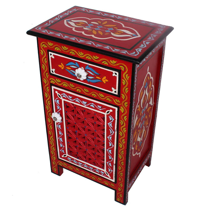 Moroccan Top Mango Wood Hand Painted 1 Drawer Nightstand - Endtable red