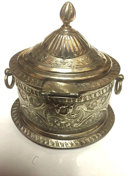 Antique Moroccan Engraved Carved Silver Plated Brass Trinket Box Canister Urn