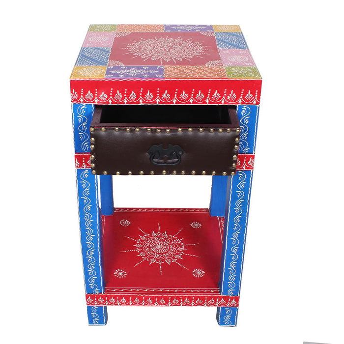 Handpainted Solid Wood End Table with Drawer or Paris End Table