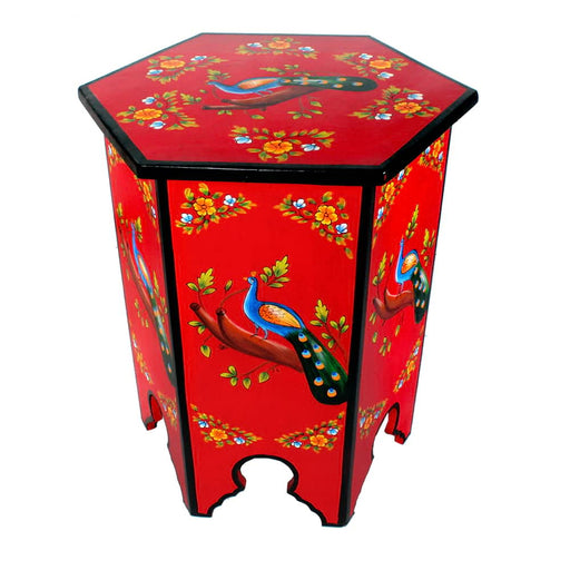 Peacock Design Top Solid Wood Hand-painted End Table
