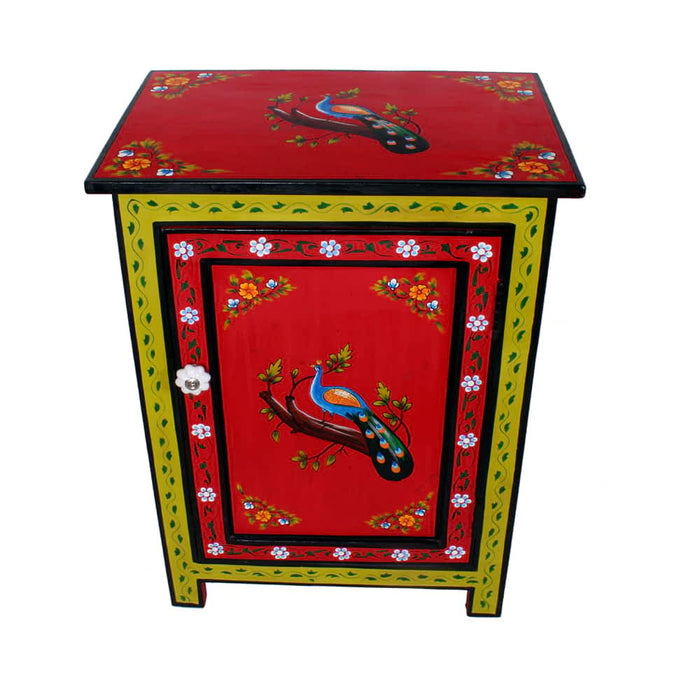 Peakcook Design handpainted Mango Wood Nightstand Endtable with Drawer