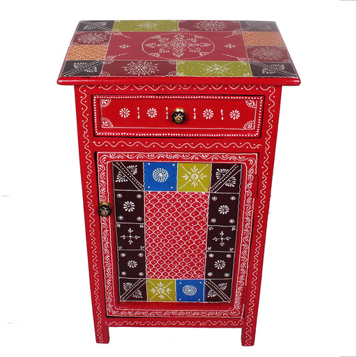Rajasthan Hand painted 1 Drawer Nightstands or End Table with Drawer