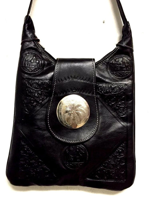 Moroccan Tribal Tooled Embossed BLACK Leather Bag Purse Crossbody Medallion Bag
