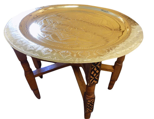 Star engraved brass serving tray table 24""