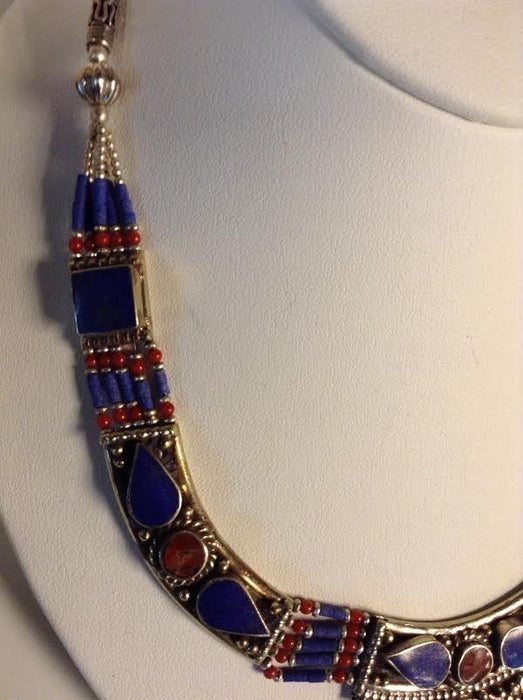 Moroccan Lapis Lazuli & Coral Tribal Silver Alloy Necklace