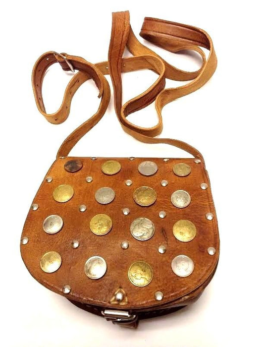 Moroccan Handsewn Tan Leather Small Purse Crossbody Bag Vintage Coins & Metal