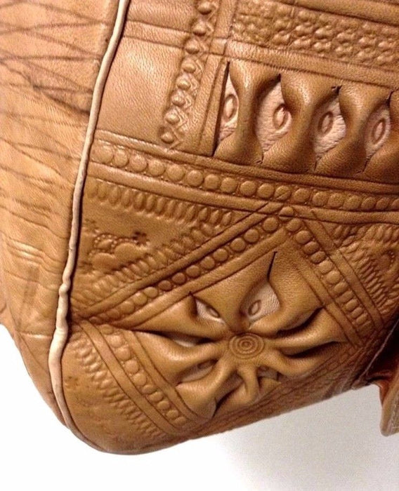 Moroccan Tribal Tan Brown Embossed Leather Tan Hobo Handbag