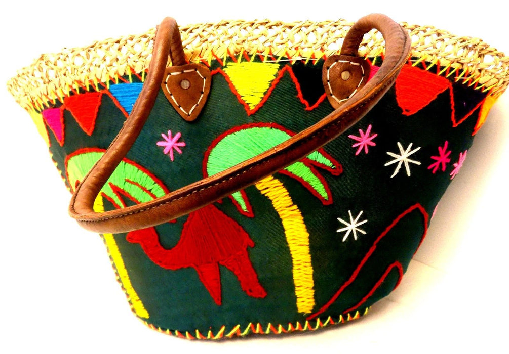Handwoven & Leather Strap Shopping Moroccan French Market Bag