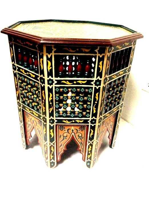 Moroccan Octagonal Moucharabieh Handpainted Table Design Furniture GREEN  XL