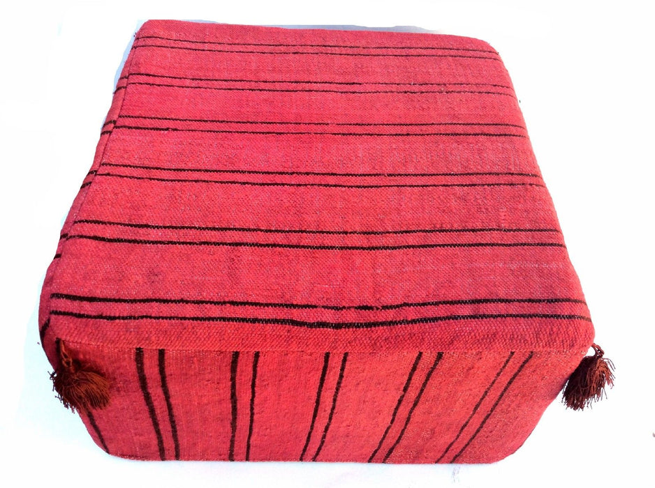 Moroccan Hand Woven Kilim Wool Square Ottoman Pouf Chair in Red & Black Stripes