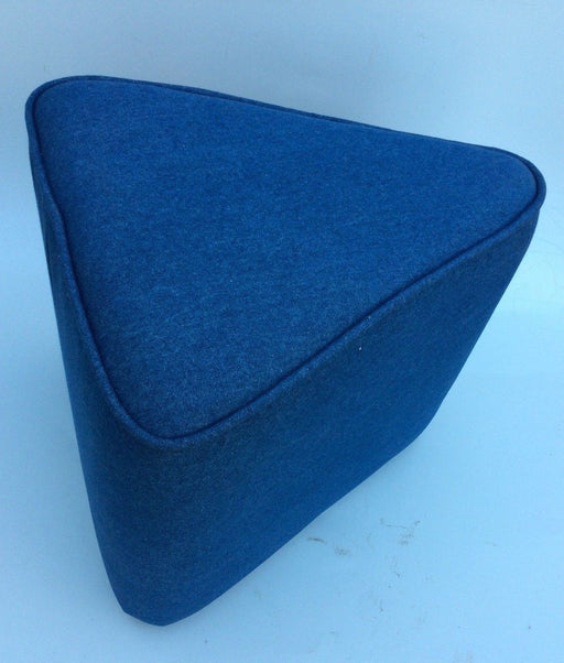 Triangular Small Ottoman Blue Denim Chair Seat Handmade