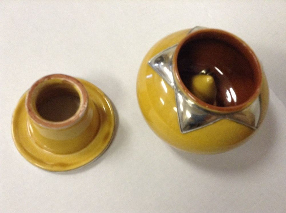 Moroccan Lidded Ashtray Glazed Terracotta & Metalwork Decorated Accent yellow XL