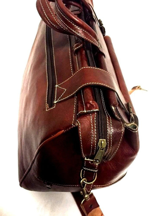 Handmade Genuine Grain Leather Rugged Travel Duffle Bag Weekend Luggage Brown