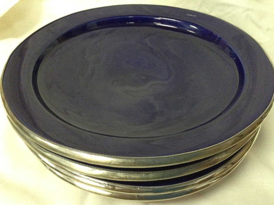 "Moroccan Serving Dish Plate Glazed Terracotta & Silver Alloy Trim 10"" ROYAL BLUE"