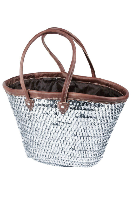 Fashion Sparkling Silver Sequin & Leather Straw Tote French Bag Handbag XXL