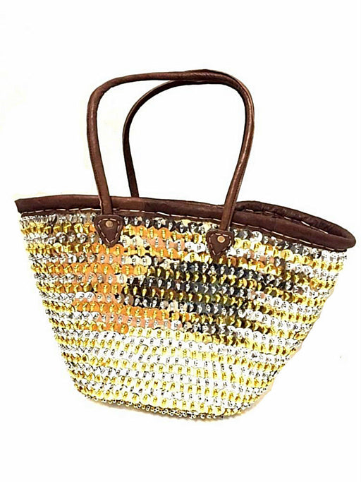 Fashion Sparkling Gold/Silver Sequin & Leather Straw Tote French Bag Handbag XXL