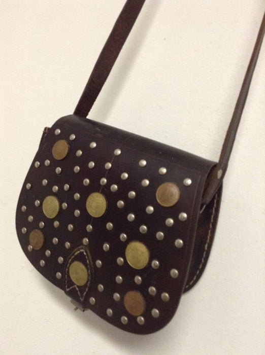 Moroccan Handsewn Brown Leather Mini Purse Crossbody Bag Vintage Coins & Metals