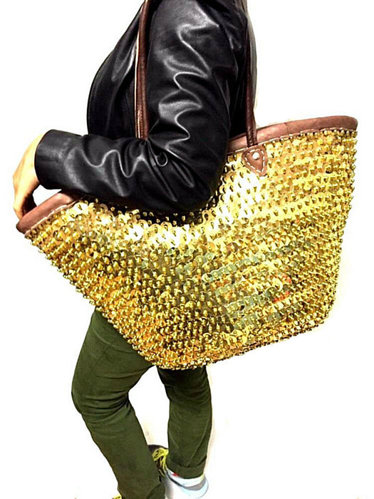 Fashion Sparkling Gold Sequin & Leather Straw Tote French Bag Handbag XXL