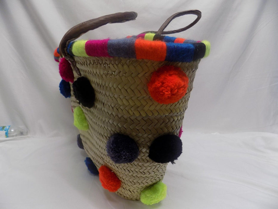 Copy of Moroccan Pom Pom straw Basket