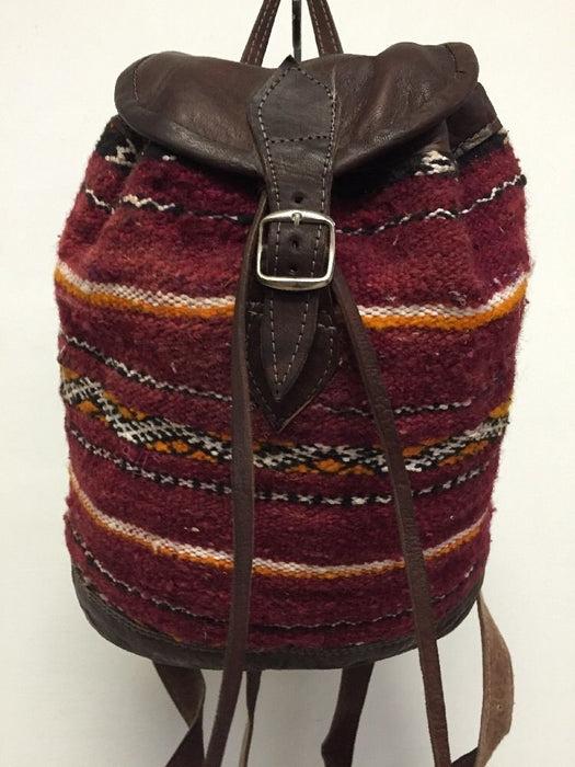 Moroccan Tribal Rugged Backpack in Kilim Handwoven Wool & Leather Travel Bag