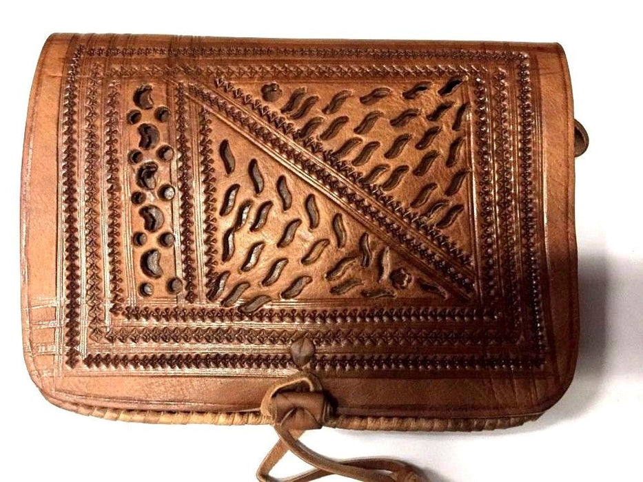 Moroccan 100% Embossed Tan Thick Leather Hand Made Bag Cross Body Purse