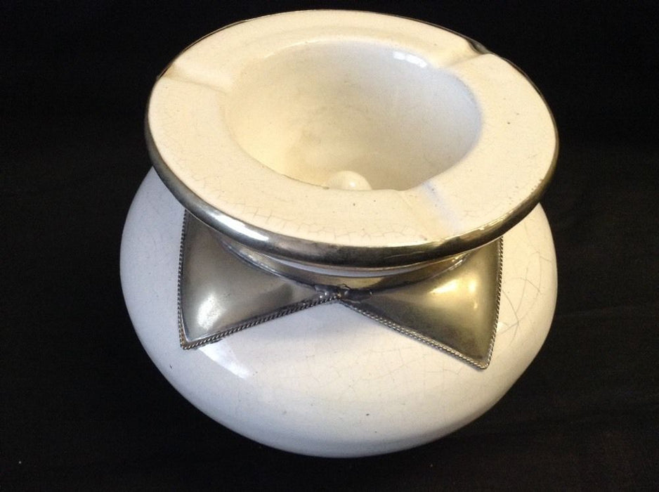 Moroccan Lidded Ashtray in Glazed Terracotta Metalwork Decorated Accent white