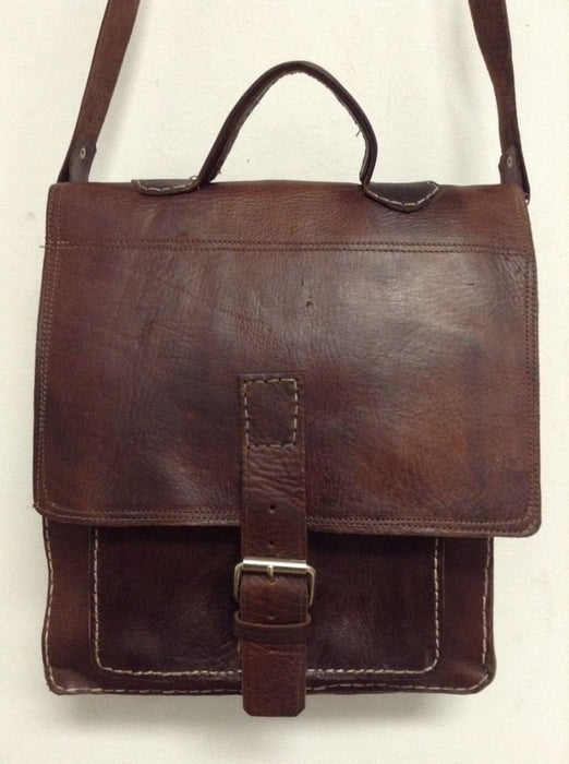 Rugged Design Handmade Raw Brown Leather Briefcase Messenger Travel Bag