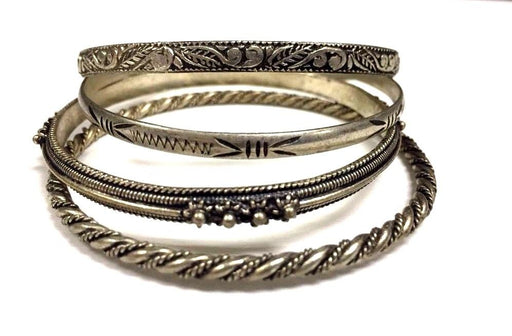 4 Piece Moroccan Bangle Bracelets in Hammered & Engraved Alpaca Silver