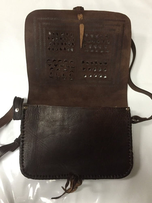 Moroccan 100% Embossed Dark Thick Leather Hand Made Bag Cross Body Purse Tablet