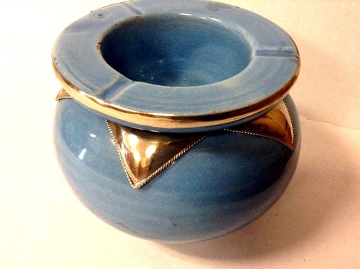 Moroccan Lidded Ashtray Glazed Terracotta & Metalwork Decorated baby blue XL