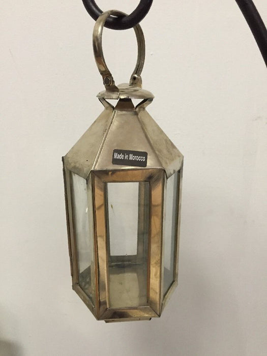 Moroccan Hexagonal Lantern Silver Metal & Glass hanging Votive Lamp Candle Small