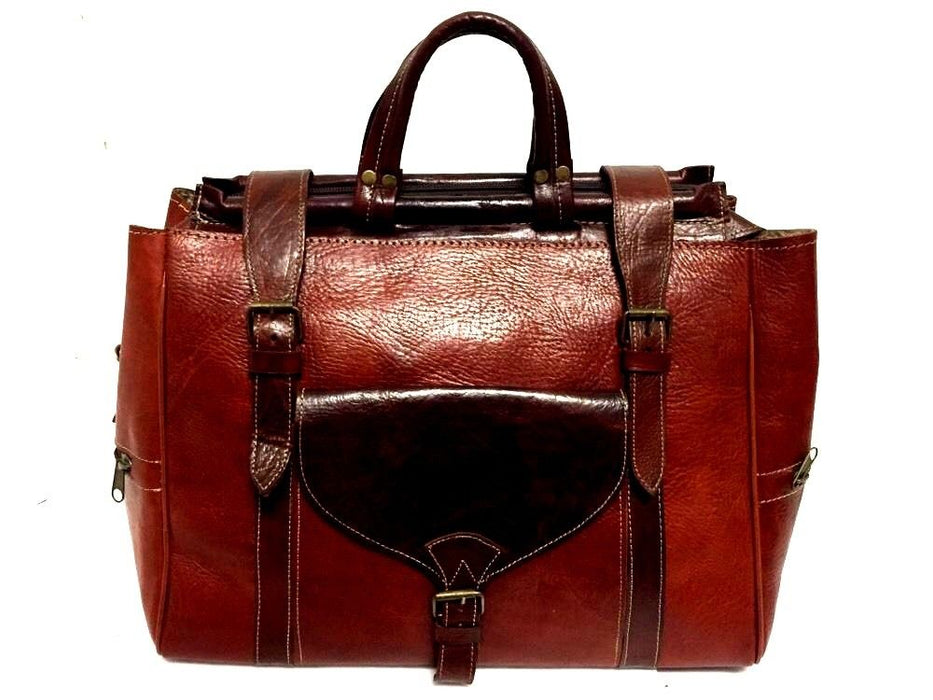 Handmade Genuine Grain Leather Rugged Travel Duffle Bag Overnight Luggage