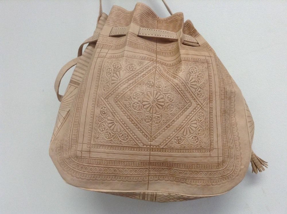 Moroccan Tribal Tooled Embossed Natural Beige Leather Bag Hobo Handbag
