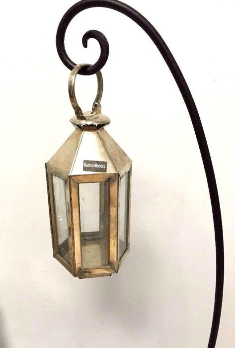 Moroccan Hexagonal Lantern Silver Metal & Glass hanging Votive Candle Lamp