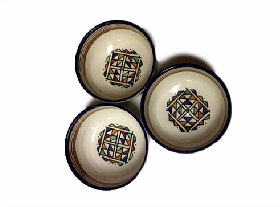 Moroccan Hand Painted Ceramic Bowl Set of 3