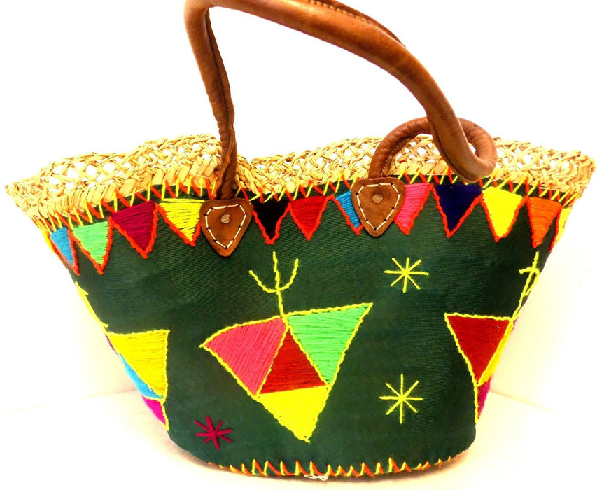 Handwoven & Leather Strap Shopping French Market Bag Moroccan