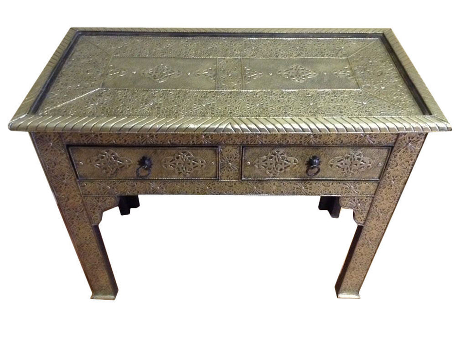 Moroccan Console Table Silver Carved & Etched Metal Arabesque Furniture