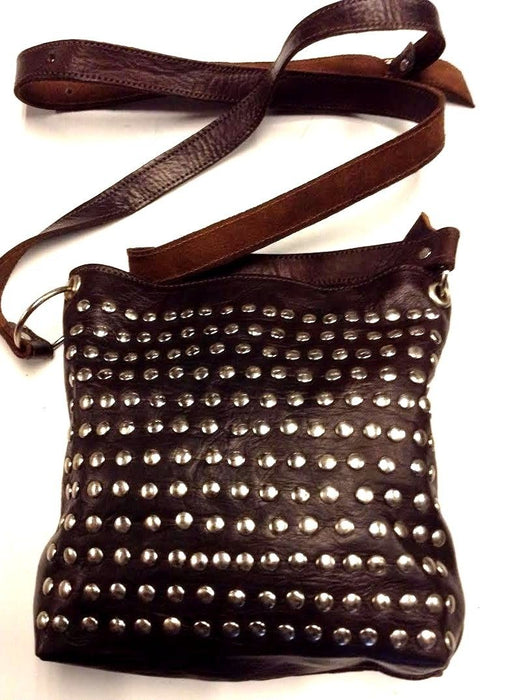 Moroccan Fashion 100% Leather Bag Crossbody Purse Stainless Nailheads