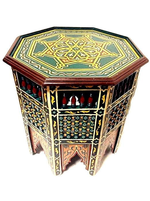 Moroccan Octagonal Moucharabieh Handpainted Table Design Furniture GREEN