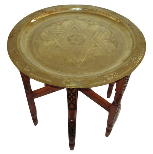 Moroccan Star of David Tray Top Round Carved Wood Octagonal Coffee Grinder Table