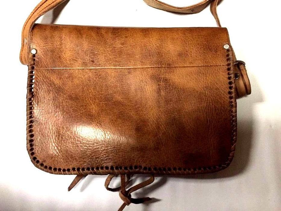 Moroccan 100% Embossed Tan Thick Leather Hand Made Bag Cross Body Purse Tablet