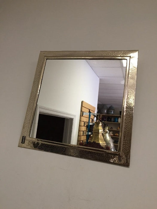 "Moroccan Wall Mirror Hand Hammered Silver Alloy Metal 15x15"" Square Frame"